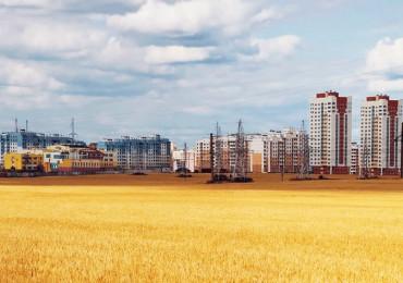 Kornfeld vor Plattenbau Grodno Hrodna Belarus Weißrussland